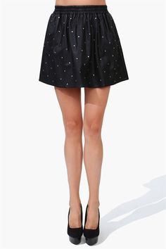 Starry Night Leather Skirt in Black