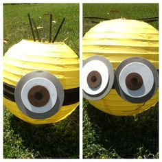 Make these Minion Decorations from Yellow Party Lanterns