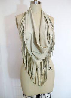 leather fringed scarf ...