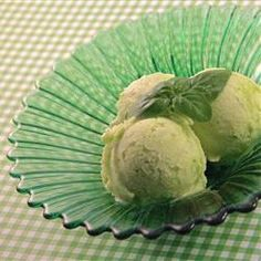 "Pineapple and Basil Sorbet | ""Fresh pineapple and pineapple juice combine with fresh basil to make this simple and refreshing sorbet."""
