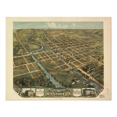 Massillon Ohio 1870 Antique Panoramic Map