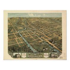 Massillon Ohio 1870 Antique Panoramic Map