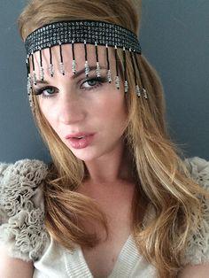 Mia Farrow Headpiece Black Silver Great Gatsby 1920 Headband  by Miss S-a Headbands