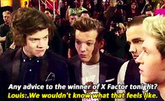 gif Harry thinks Lou is HILARIOUS.