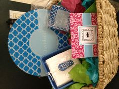 Wedding shower basket.  Personalized round cutting board and coasters.