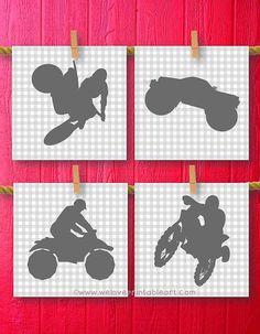 Nursery Dirt Bike Motorcycle Monster Truck by WeLovePrintableArt -- Nursery, Dirt Bike Motorcycle Monster Truck Decor Boy Room Decor, Teen Teenager Boy Art, Kids Decor, Sports Decorations, Wall Art Gray