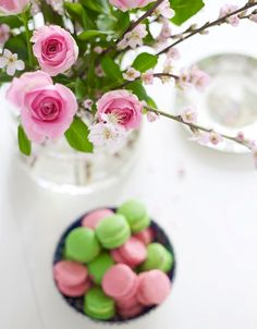 Pretty flowers and sweet treats.