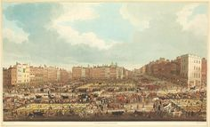 Smithfield cattle market, looking south to St Bart's (1831) by Richard Gilson Reeve