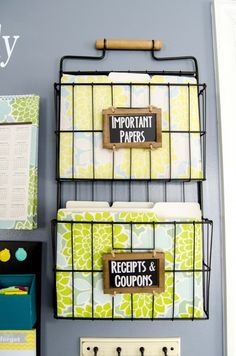 Learn how to make a family command center to keep you and your family organized! Metal rack and folders are from @HomeGoods! #HomeGoodsHappy