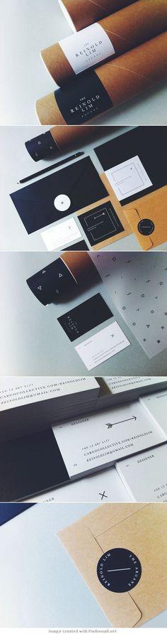 logo corporate branding visual graphic identity kraft paper design business card label black white print