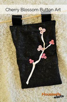craft, buttonart, button art, cherri blossom, button idea, buttons, blossom button, cherries, cherry blossoms