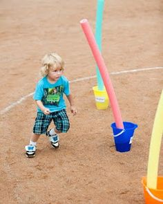 Pool noodles are a great idea for an obstacle course.