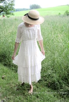 Edwardian Dress White Cotton For Summer