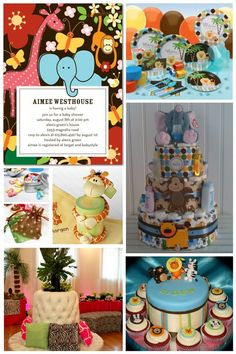 Blanki look at this.. it is great for melissa baby shower...Colorful Jungle Baby Shower Who says baby showers have to be pink, blue, or lemon yellow? Here are some colourful ideas for an adorable jungle-themed baby shower! I love the diper cake!
