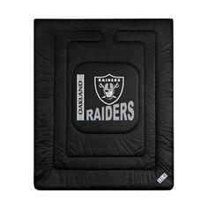 Sports Coverage 01JRCOM1RAIQUEN Locker Room Oakland Raiders Queen Comforter in Black