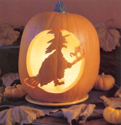 Carved witch pumpkin by Pumpkin Masters