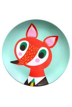 Fox Melamine Plate | Helen Dardik