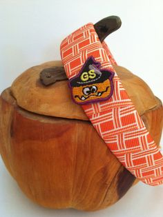 Orange and white headband.  Girl Scout pumpkin patch. $10.