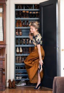 Smith ingeniously turned a shallow, unused living room closet into a place to store (and display) her shoes. To keep her collection under control, she limits herself to the number of pairs that will fit this special space.