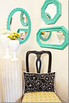 Paint yardsale mirrors in bright colors for a cheap and easy color pop! #DIY #mirrors #paint #craft #decor #homedecor #apartment #apartmentliving