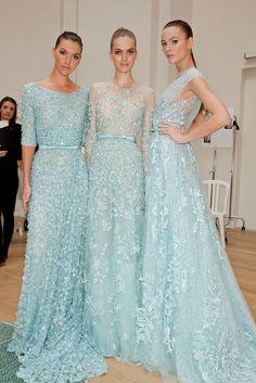 wedding dressses, color, bridesmaid dresses, ellie saab, evening gowns, blue weddings, baby blues, elie saab, haute couture