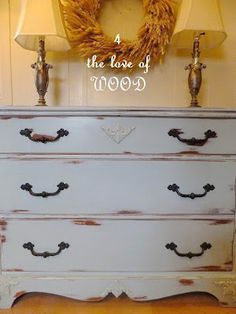 4 the love of wood: HOW TO REMOVE WATER MARKS - blue maple dresser