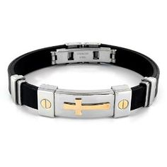 #9: Stainless Steel and Black Rubber Bracelet With Gold Plated Cross