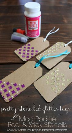 Make these beautiful stenciled glitter tags for your next gift using the new Mod Podge Rocks! Peel & Stick Stencils and podgeable glitters v...