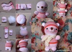 Un orsetto tenerissimo da realizzare in casa con  materiale riciclato sock crafts, sew, idea, sock doll, teddy bears, how to make sock animals, socks, diy, christma