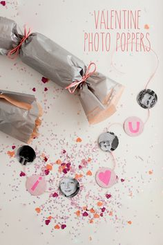 Valentine's Day Photo Party Poppers | flax & twine parti popper, photo parti, diy crafts, party poppers, valentine day, parties, confetti popper, craft idea, custom confetti