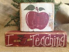 Primitive Country Apple I Apple Love Pencil Teaching Shelf Sitter Wood Block Set