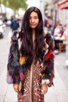 boho chic, fashion, furs, color, dress, long hair, jackets, street styles, coats