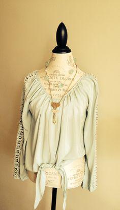 Pale Mint Crochet sleeve Bohemian Peasant top