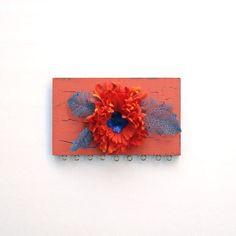 Earring display,  Orange Flower and Blue Leaves,  repurposed by Lolailo (yours truly)