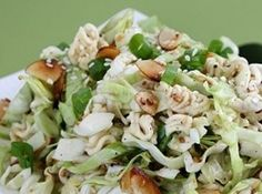 Ramen Chinese Chicken Salad: Ingredients DRESSING 1/2 c extra virgin olive oil 1/4 c seasoned rice vinegar 1/4 c sugar 2-3 Tbsp sesame oil 1 Tbsp soy sauce 1/2 tsp pepper SALAD 1 head of cabbage, shredded 1/2 carrot, peeled, julienned 4-5 green onions, finely chopped 1/4 bunch cilantro, chopped 1 lb chicken, gently boiled, finely shredded ...