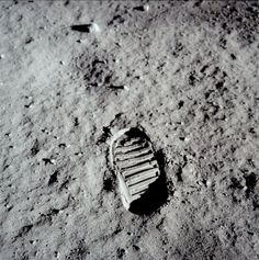 Footprint on the Moon [Lunar, 1969]    On July 20, 1969, Neil Armstrong put his left foot on the rocky Moon. It was the first human footprint on the Moon. They had taken TV cameras with them. The first footprints on the Moon will be there for a million years. This photograph was taken by Buzz Aldrin.