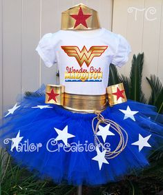 Wonder Woman Girl Personalized Birthday tutu set by TCTutuBoutique, $85.00