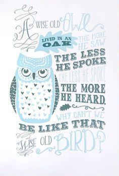 Wise Old Owl Letterpress Art Print