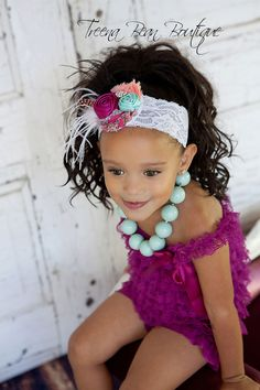 Vintage Plum Aqua Satin Rose Feather Lace Headband- baby headband- newborn headband- infant headband- toddler headband