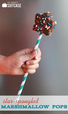 Star-Spangled Marshmallow Pops