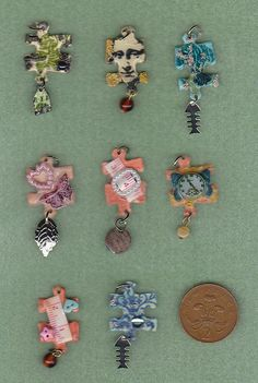 8 Altered Jigsaw Charms