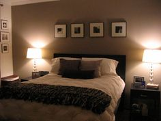Cozy Taupe Master Bedroom love the idea of a pic of us embraced in each season on the wall behind our bed