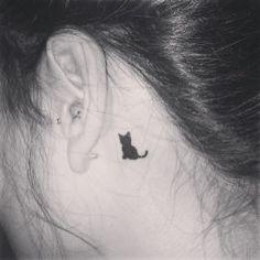 cat tattoo black, black cat tattoos, ear, pet tattoo ideas, black cats