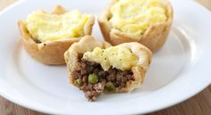 Mini Shepard's Pies: (crust) 1 (8 oz) can Crescent dough. (filling) Mashed potatoes, 1/2 pound lean ground beef, 1 teaspoon steak seasoning, 1 tablespoon ketchup, 1 teaspoon Worcestershire sauce, 1/3 cup frozen vegetables (peas, carrots or mixed).