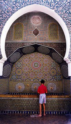 """Water fountain in Marakesh, Morocco""  Great example of beautiful tile-work."