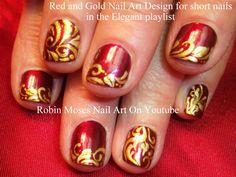 Nail-art by Robin Moses - Red and Gold Filigree