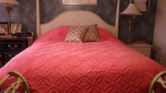 Beautiful Vintage Chenille Coral Bedspread, 96x104, Double or Queen. $64.99, via Etsy.