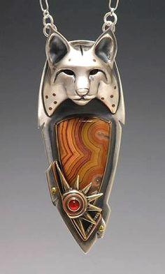 Pendant - Brooke Stone.   Silver, bronze, copper, Dryhead Agate, Carnelian.