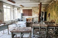 An abandoned classroom.
