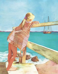 """""""Imagine"""" - Pomm Olsen, watercolor painting. """"Imagine the sailboat with fisherman catching the biggest catch of the day. Image a pirate ship with canons on the bow, a plank for jumping off for a swim. Imagine the sails blowing in the wind taking you to Paradise Island. This is what this child is imagining. Her dreams have no limits. It can be anything and you can create it."""""""